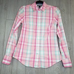 Tommy Hilfiger Pink Plaid Button Down Long Sleeve